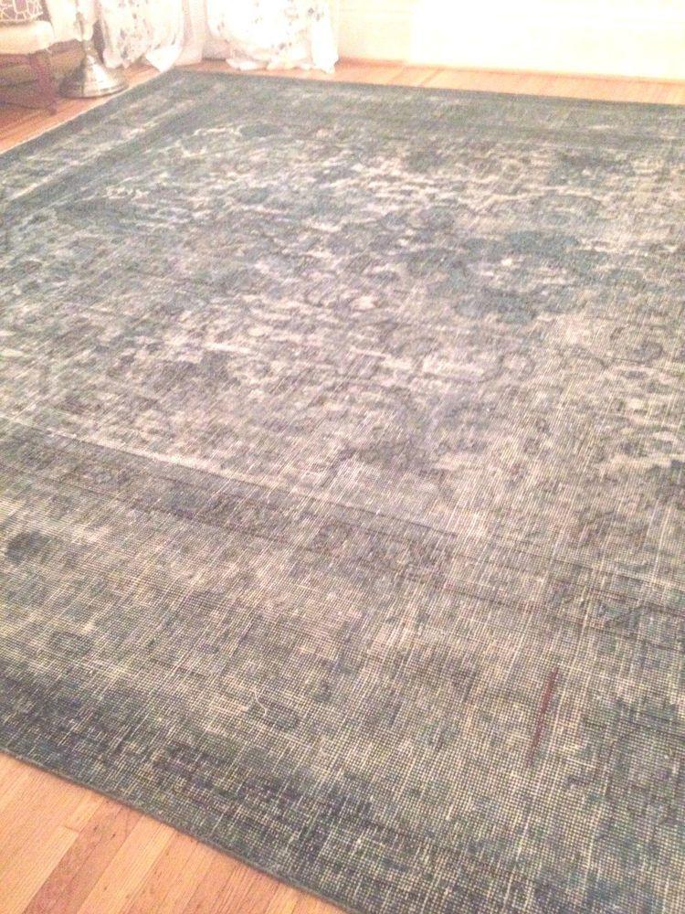 Overdyed Vintage Persian Oriental Distressed Area Rug 100 Wool 9 4