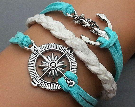 Ancla y brújula encanto pulsera-plata-luz azul & cuero blanco--amistad regalo ajustable tejido brazalete personalizado joyería