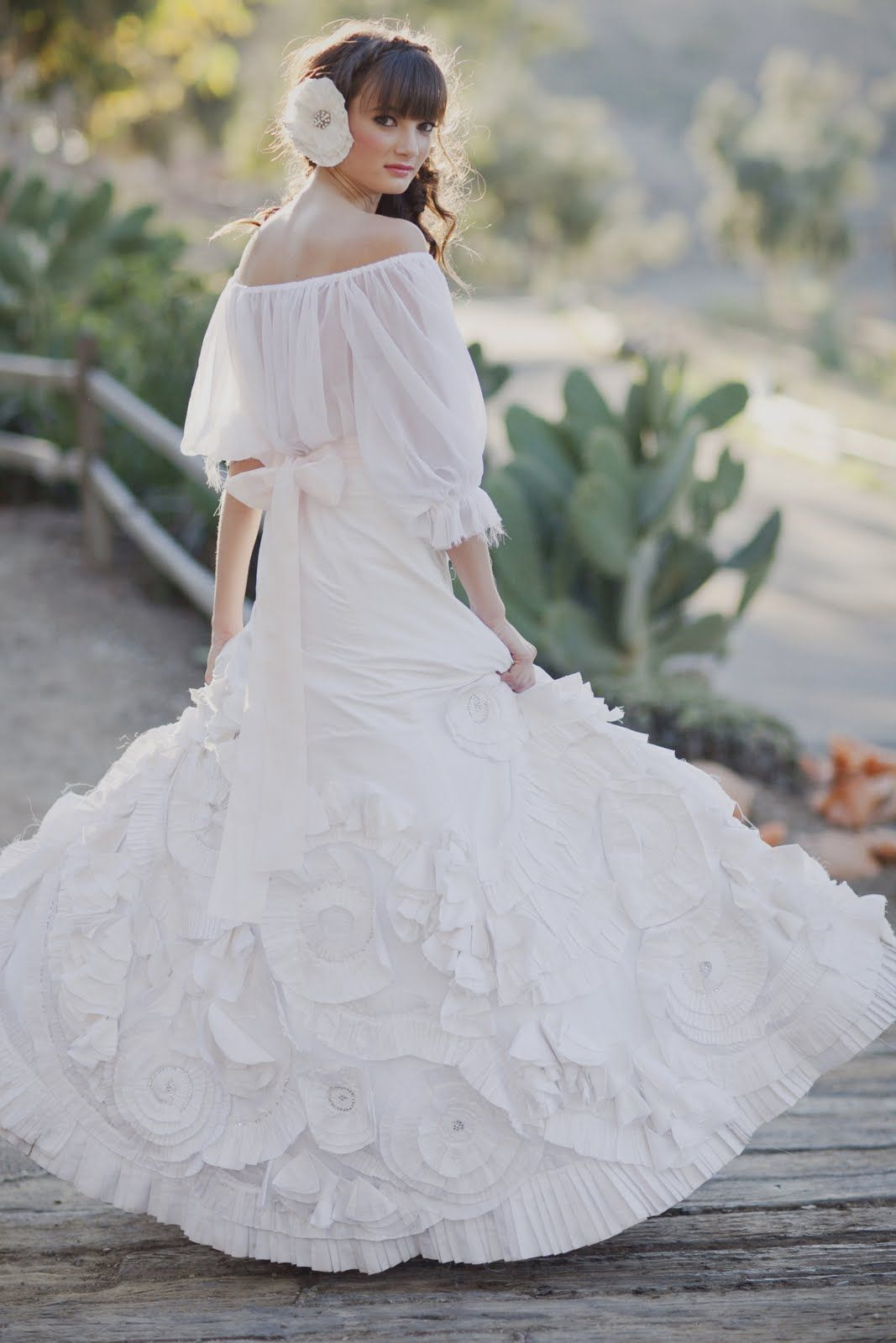 peasant style wedding dress mexican style wedding dresses Spanish Bridal Fashion with Mexican Wedding Inspiration Papel Picado