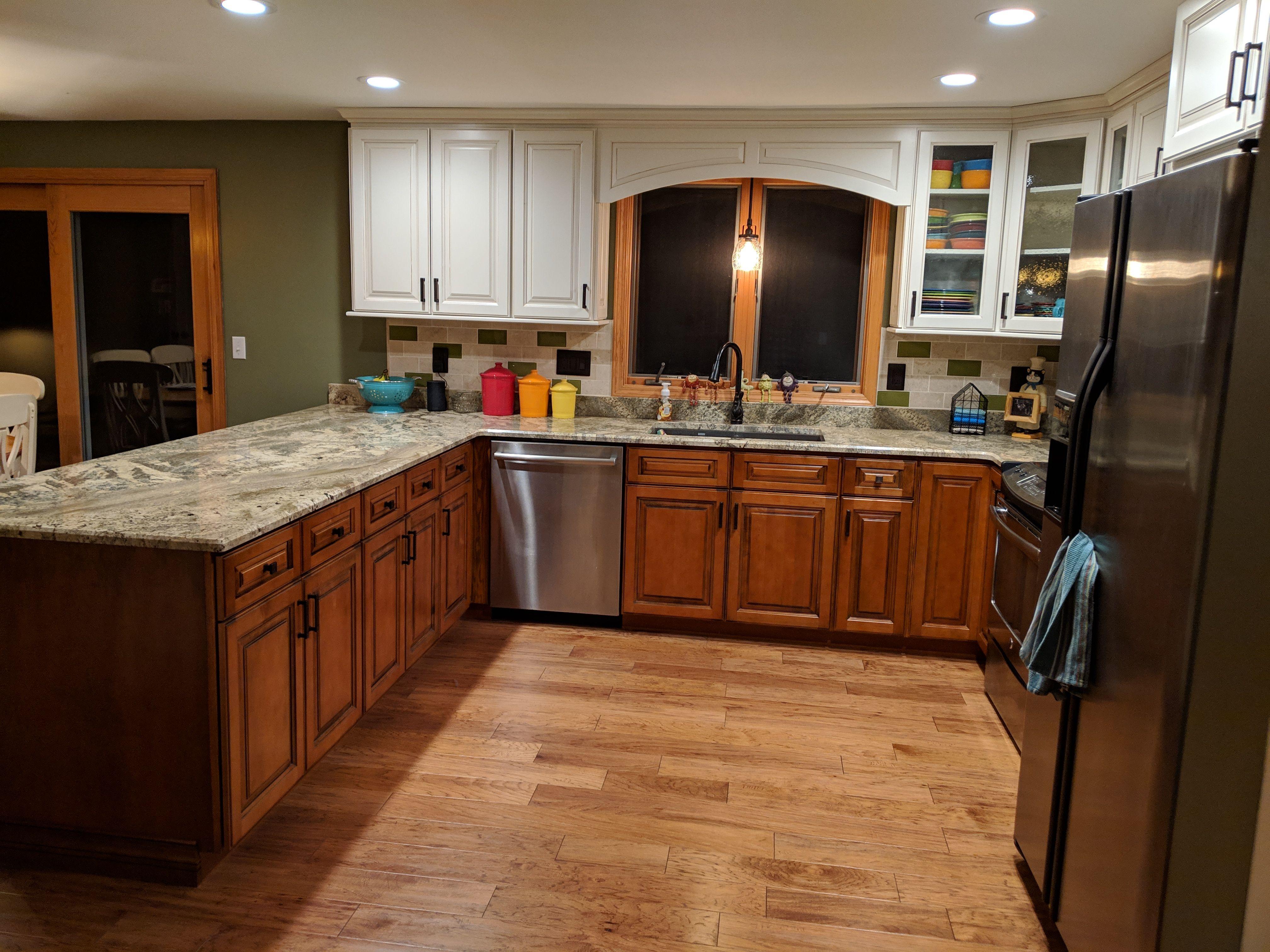 Whiskey Black and Toasted Almond   U shaped kitchen ...