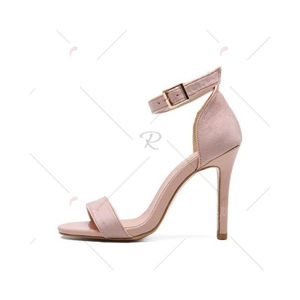 Pink 38 Ankle Strap Stiletto Heel Sandals ($47) ❤ liked on Polyvore featuring shoes, sandals, pink shoes, ankle strap sandals, ankle strap stiletto sandal, pink stilettos and ankle tie shoes