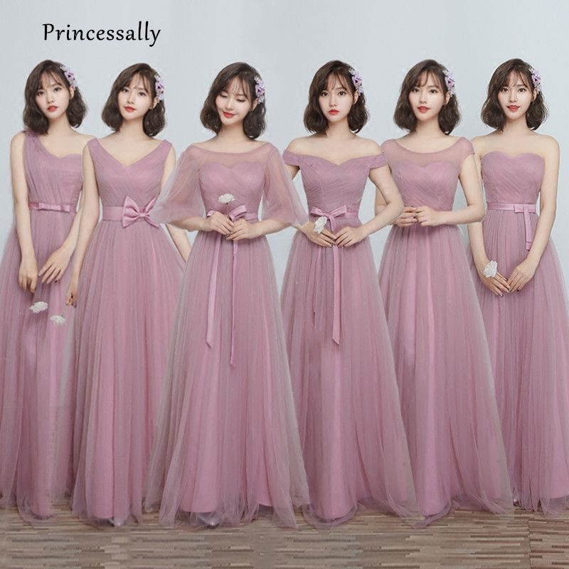 Find More Bridesmaid Dresses Information about Robe De Soriee New Bridesmaid  Dresses Dusty Long Boat Neck A line Peated Cheap Prom Party Gown Under 50  ... d6c0064c1bb9