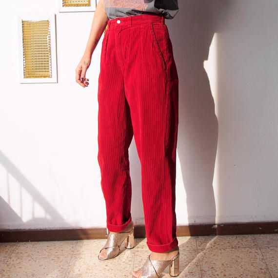 18422e6591 Ruby Red High Waist Tapered Leg Baggy Pants 80s Vintage