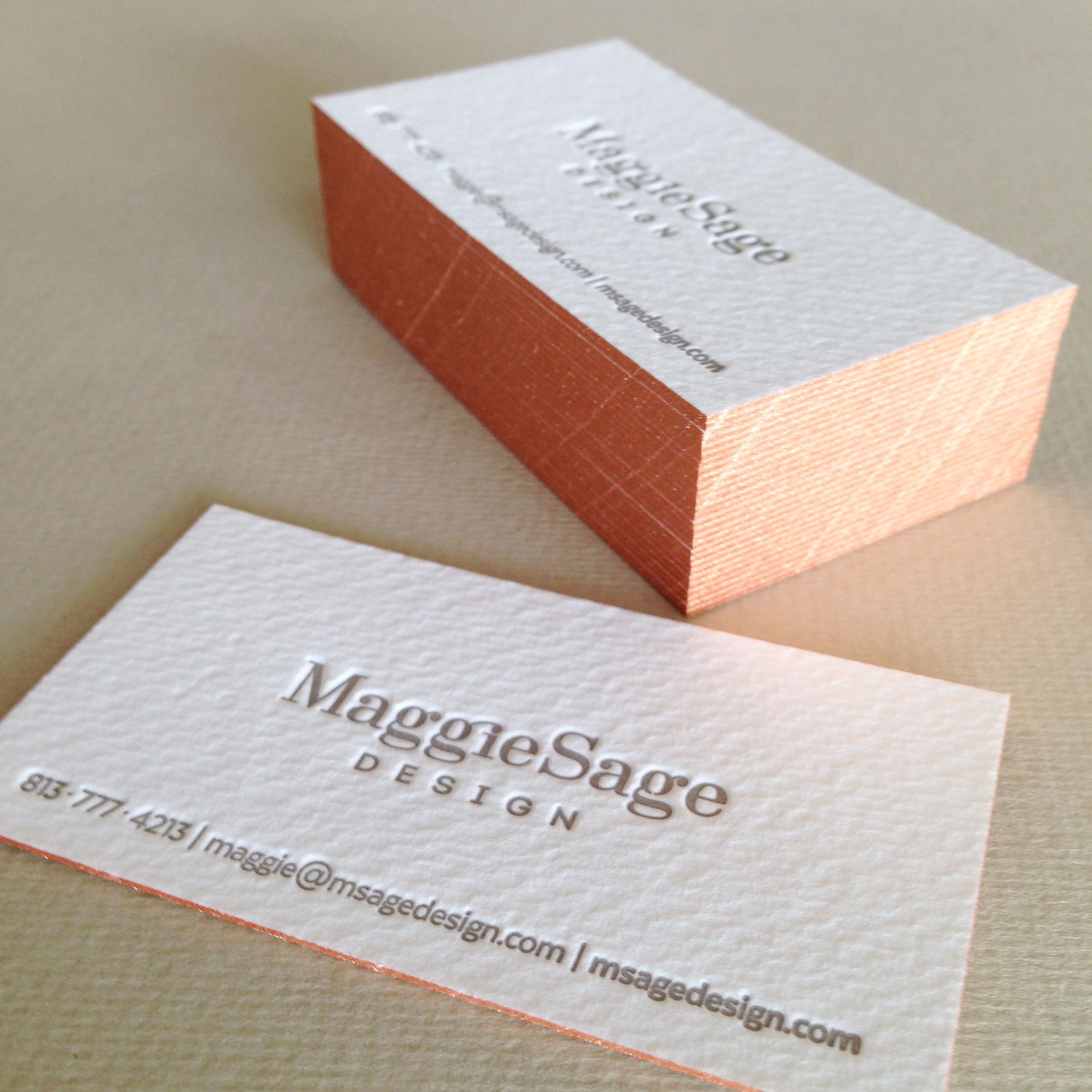 Maggie Sage Design Letterpress Business cards with Copper Edge