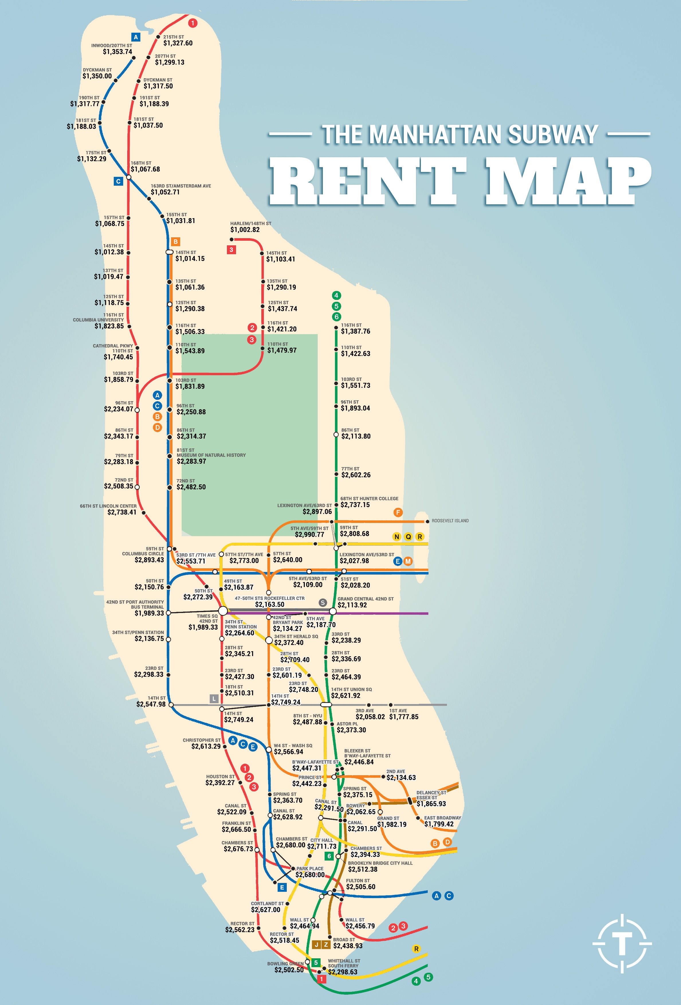 THE MANHATTAN SUBWAY RENT MAP WHERE YOU CANT AFFORD TO LIVE BY
