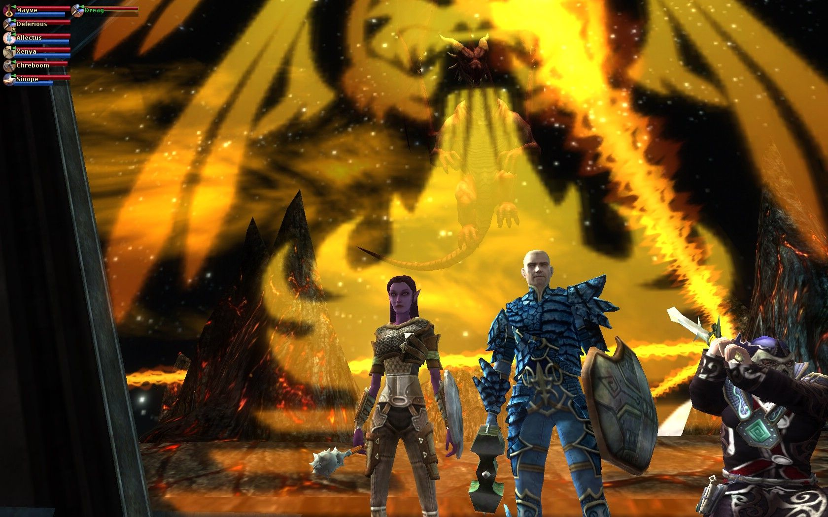 Maeve, Allectus, and Chreb ready to face Velah, the Red Dragon