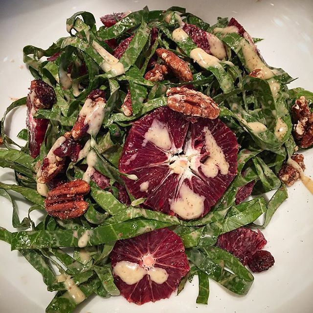 Collard Green and Blood Orange Salad with Glazed Pecans and Creamy Blood Orange and Mustard Dressing. #Werejustdifferent #TeamWade
