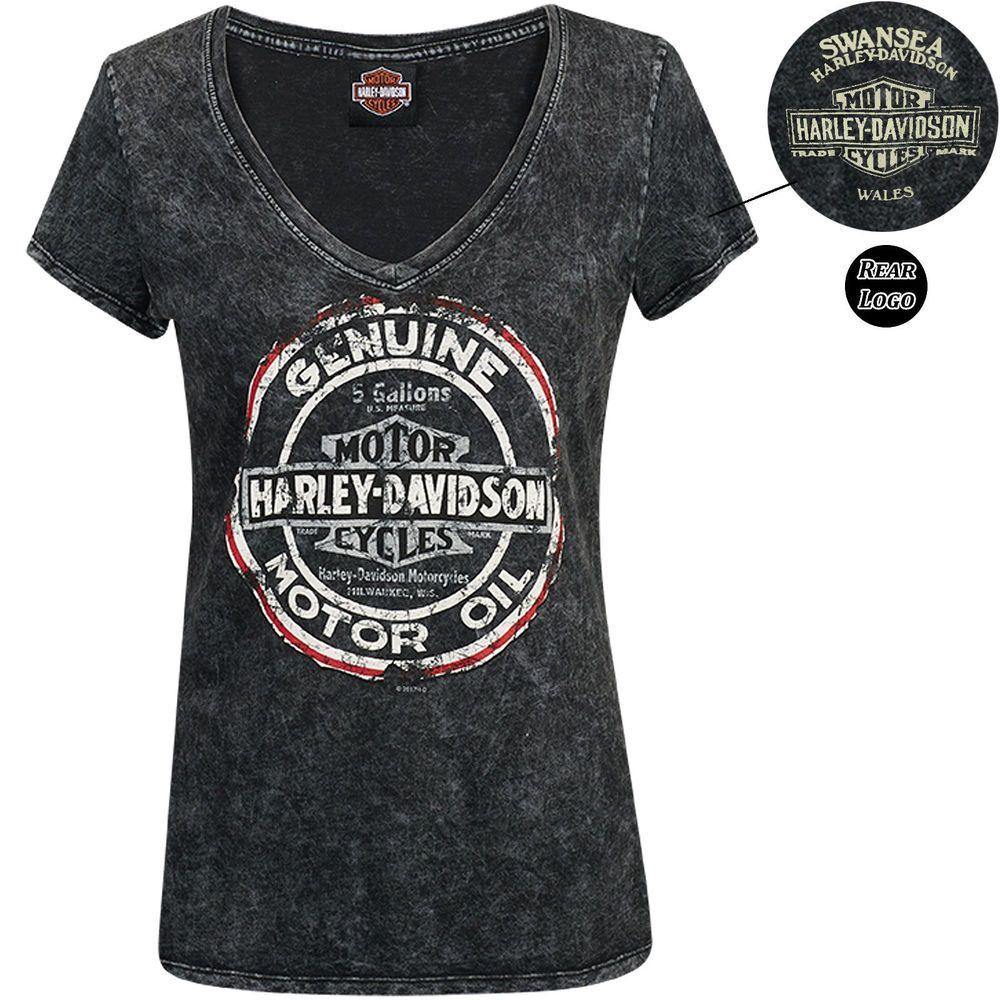 Harley davidson genuine round black ladies tshirt swansea