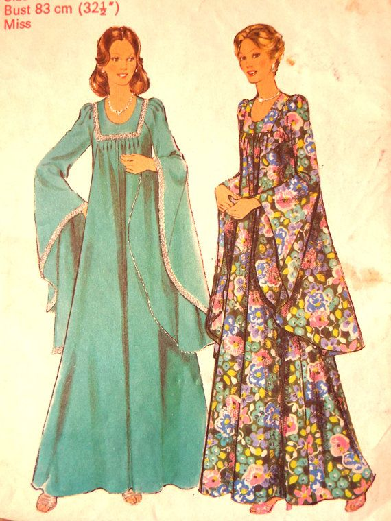 Vintage 1970s Style 4927 Huge Godet Deep Long Sleeve Dress Gown ...