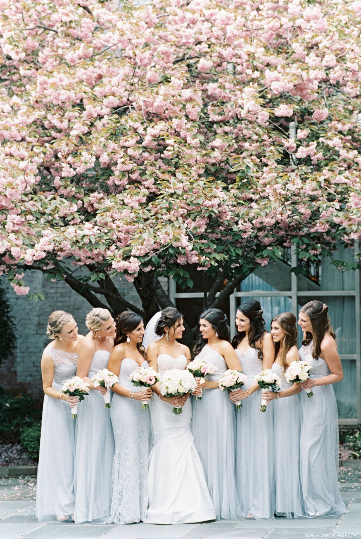 Bridesmaids in Pale Blue   photography by http://www.loveandbemarried.com