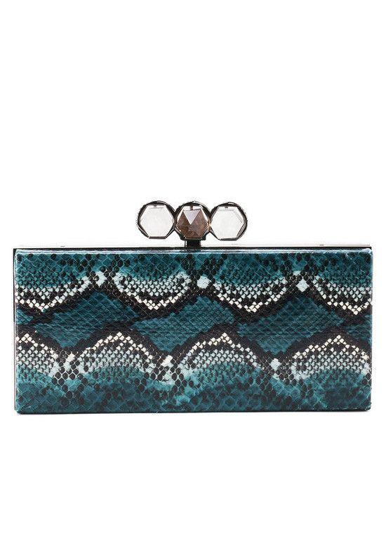 marchesa snakeskin and crystal india rectangular box clutch teal rh pinterest com