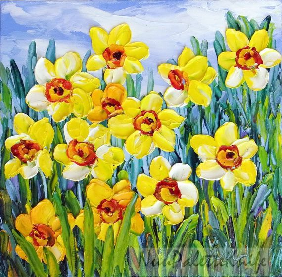 Daffodil Flower Small Oil Canvas Art Yellow Floral Painting