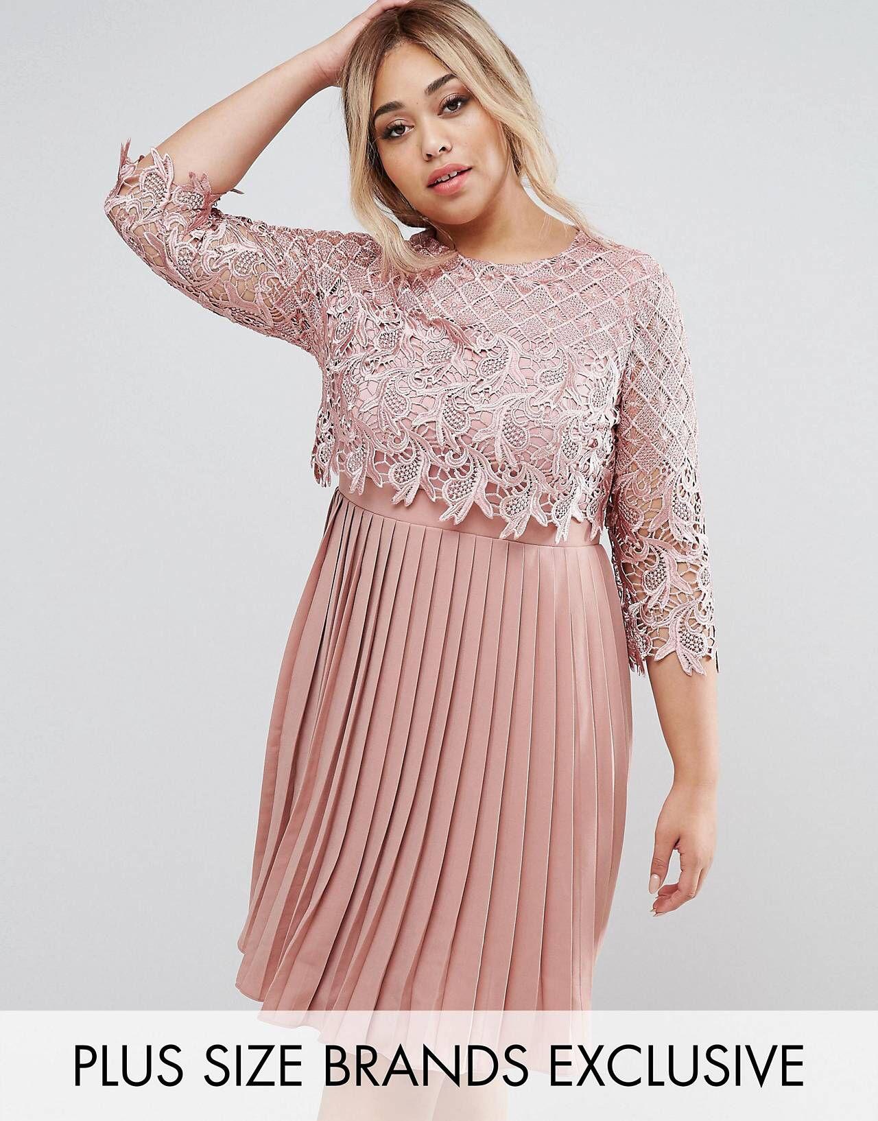 07f51dcb Little Mistress Plus Premium Lace Overlay Midi Dress With Pleated Skirt