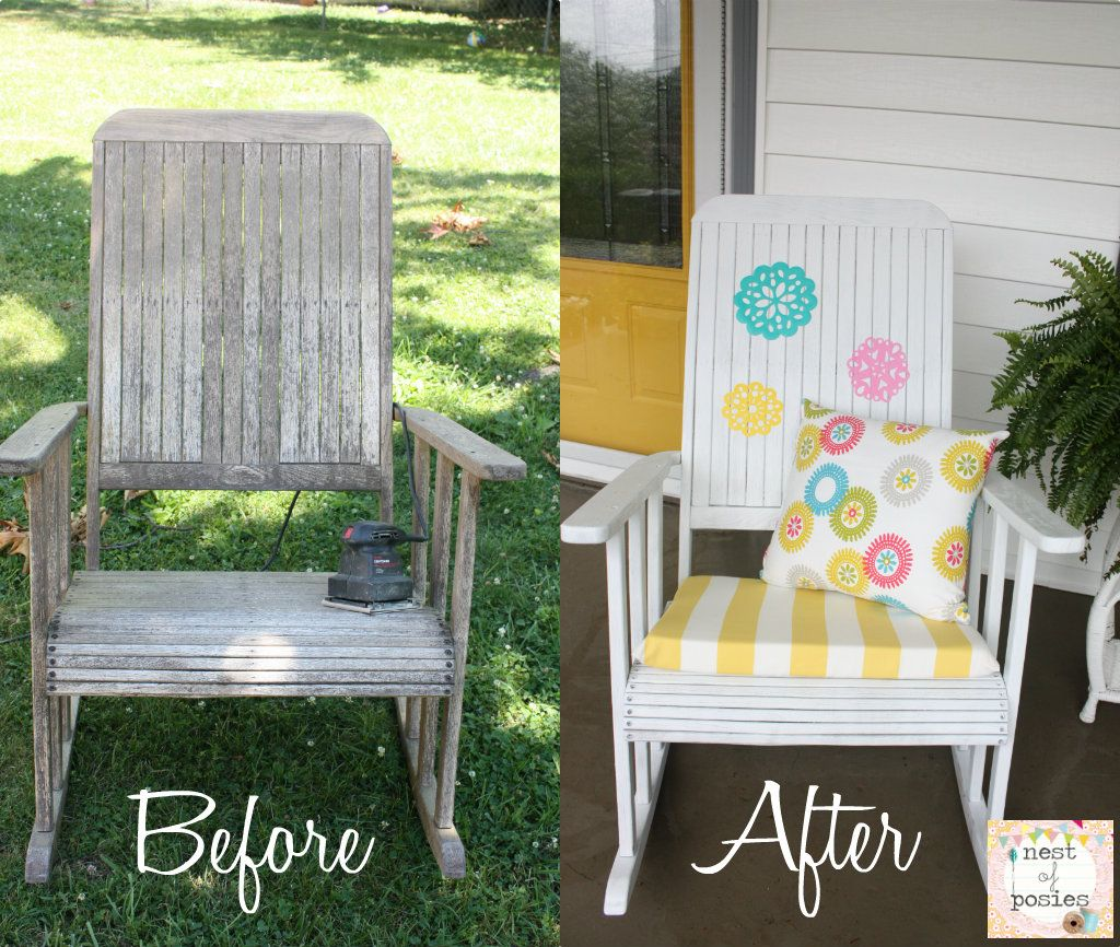 Exceptionnel Before U0026 After   Update Your Rocking Chairs With Paint U0026 Outdoor Vinyl Via  Nest Of Posies