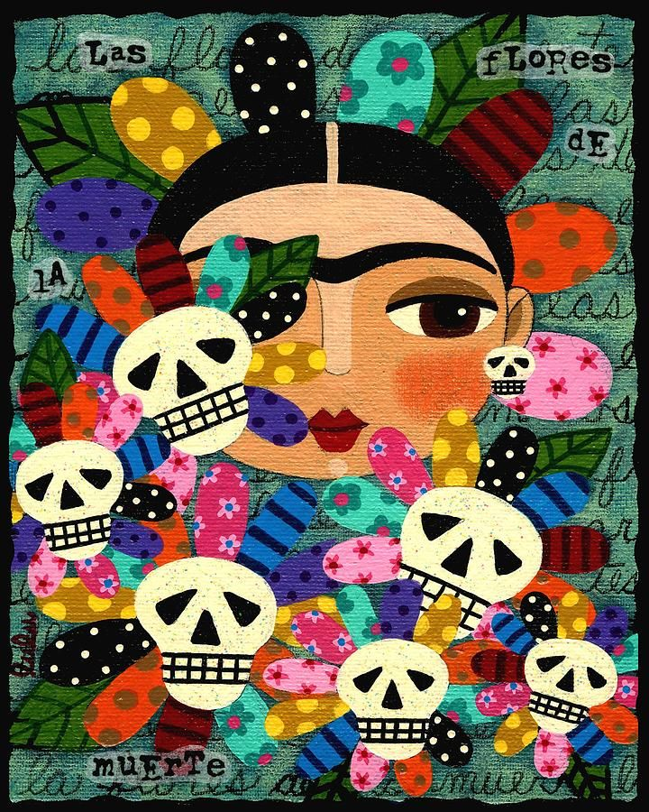 Frida kahlo day of the dead flowers painting frida kahlo for Diego rivera day of the dead mural