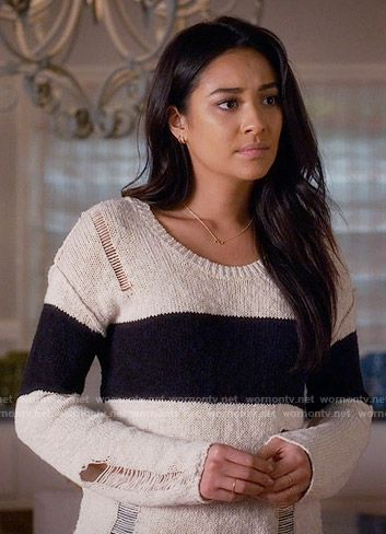bcae84fb43f1c Emily s cream sweater with black stripe on Pretty Little Liars