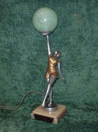 An Art Deco figured table lamp, modelled as a female