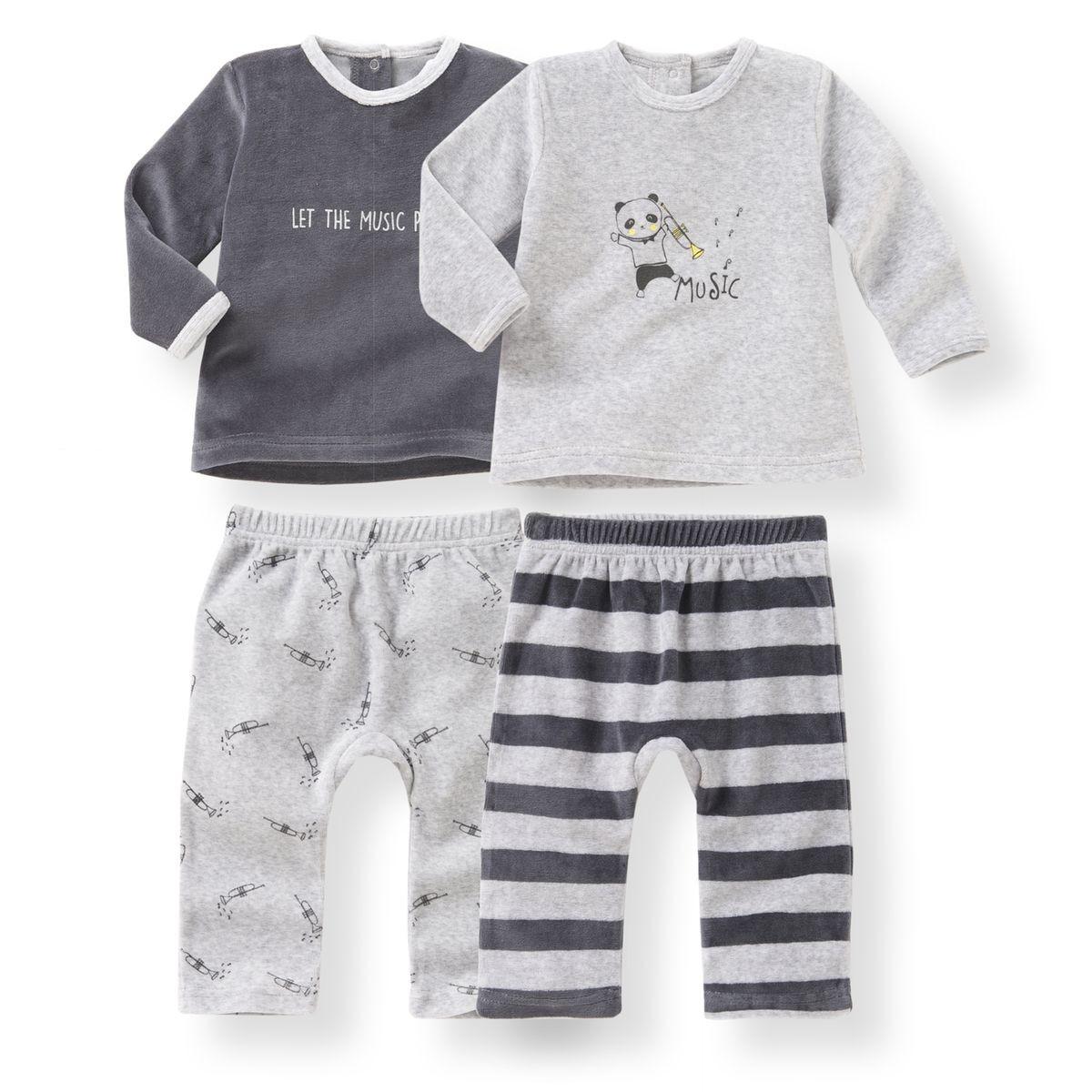 b4600e959f0f4 Lot De 2 Pyjamas 2 Pièces Velours - Oeko Tex - Taille   naissance 1