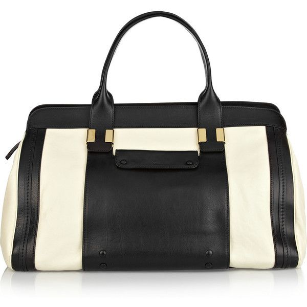 Chloé Alice leather tote (6.435 BRL) ❤ liked on Polyvore featuring bags, handbags, tote bags, purses, accessories, leather purses, white tote bag, leather totes, black and white purse and zippered tote bag
