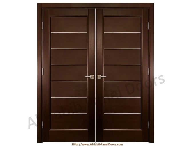 Dark polish main double stripes door pid005 main doors for Main door design