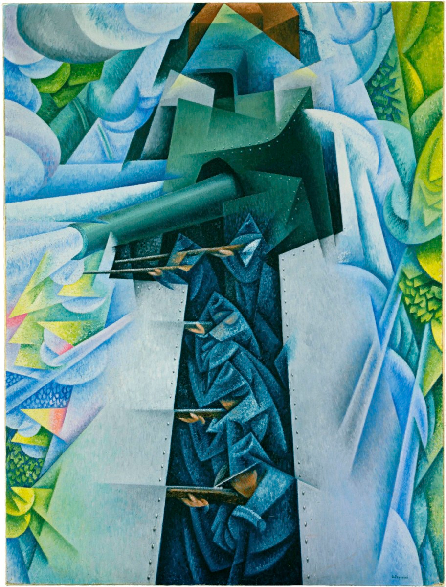 "Gino Severini's ""Armored Train in Action"" (1915). An"