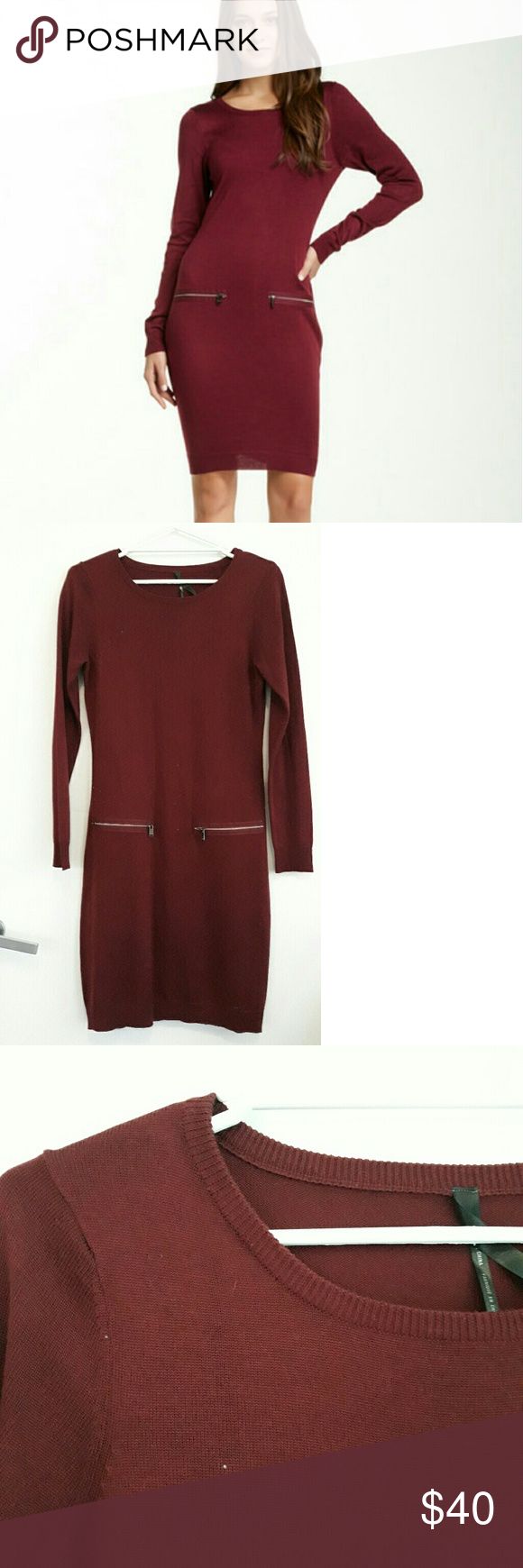 Marc Maroon Sweater Dress Maroon Sweater dress, above the knee. Two zip pockets at the hip on the front (not real pockets). Very comfortable and classy. Andrew Marc Dresses Long Sleeve