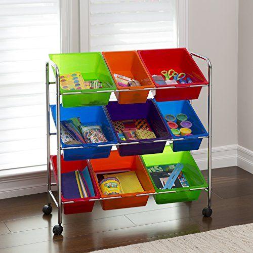 Seville Classics Mobile Toy Storage Organizer 9 Bins In Fun