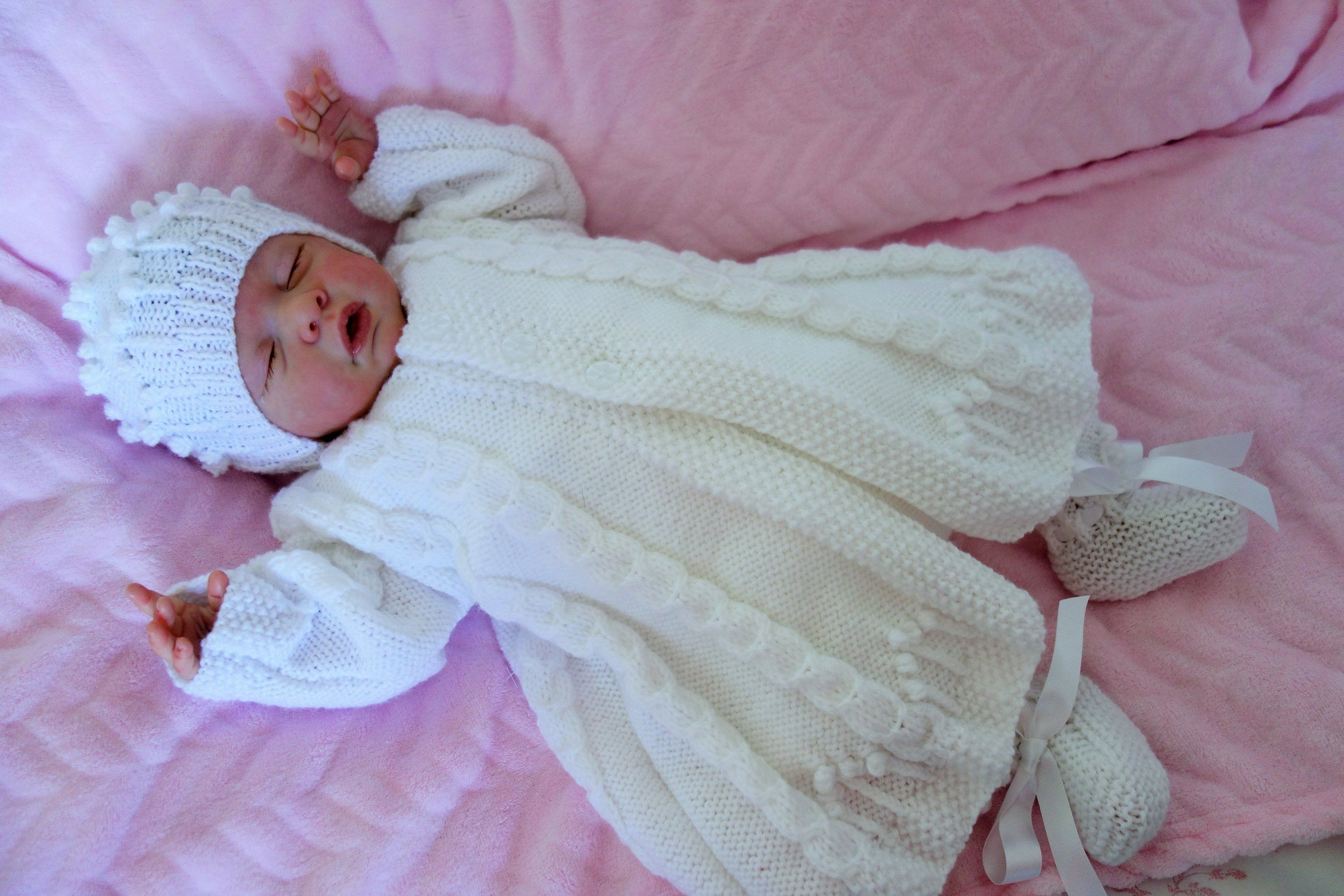 644ca4541fc8 Hand knitted christening baptism outfit. Romper