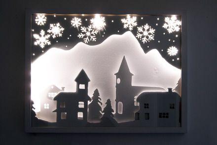 village enneig tableau lumineux en trois dimensions d corations murales par loois design. Black Bedroom Furniture Sets. Home Design Ideas