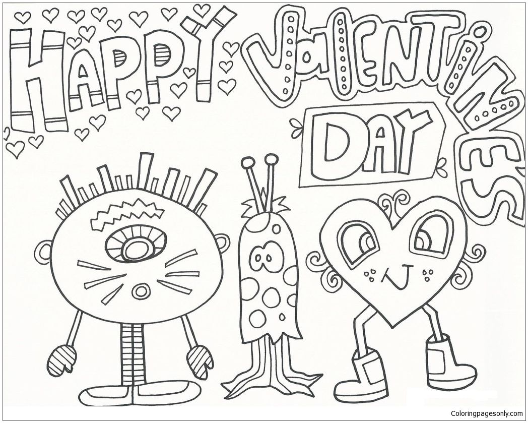 Happy Valentines Day Coloring Page Valentines Day Coloring Page Valentine Coloring Pages Valentine Coloring
