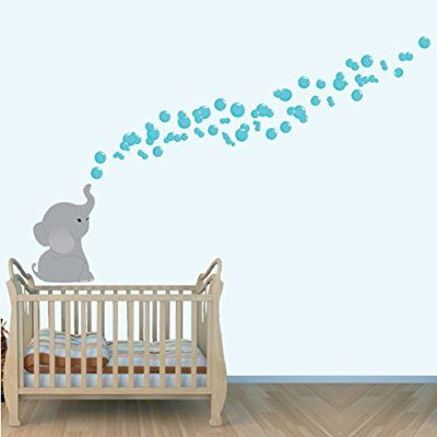 Elephant Wall Decal, Jungle Stickers, Nursery Decals, Teal Grey Large Decal