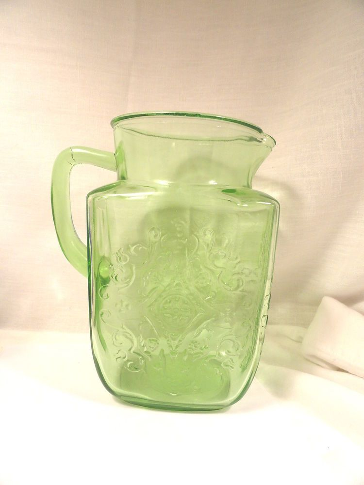 "Green Madrid Depression Glass 8"" Pitcher Federal 1930's #FederalGlass"