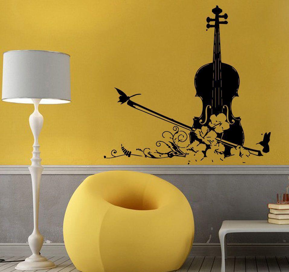 Wall Decals Vinyl Decal Sticker Art Mural Decor Music Floral Violin ...