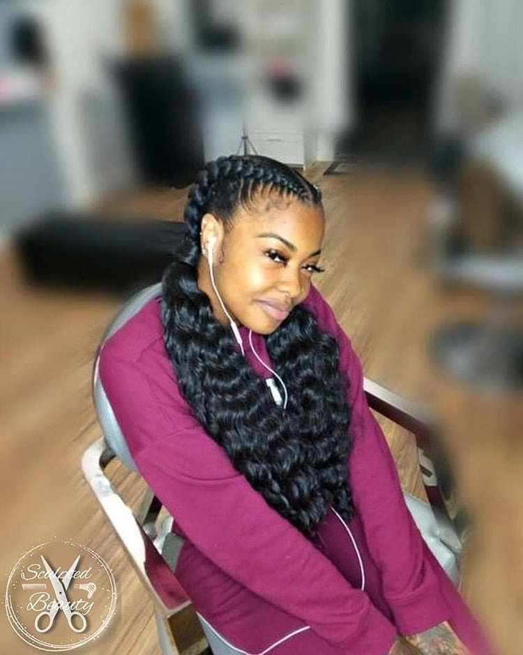2 Feed In Braids With Curly Ends Jumbo Box Braids Curly Ends Braid Styles Braids With Weave Feed In Braids Hairstyles 2 Goddess Braids