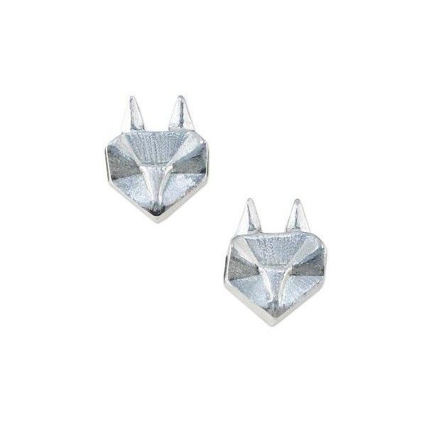 NOVICA Cute Origami Style Foxes as Thai Sterling Silver Earrings (375 MXN) ❤ liked on Polyvore featuring jewelry, earrings, clothing & accessories, sterling silver, stud, sterling silver jewelry, origami earrings, sterling silver stud earrings, fox earrings and stud earrings