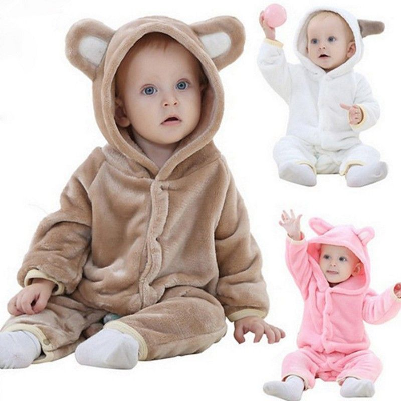 Toddler Baby Infant Boy Girl Zip Romper Hooded Jumpsuit Bodysuit Outfits Clothes