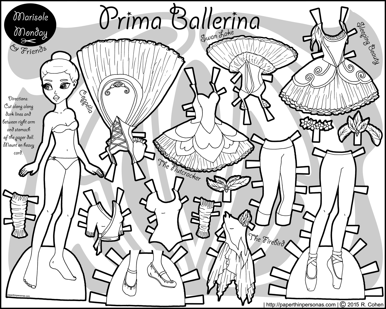 a black and white printable african american ballerina paper doll with costumes from the ballets
