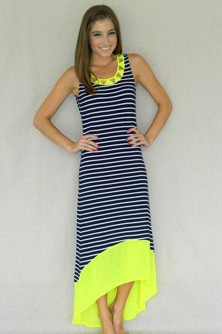cc094013cd Pop of Neon Maxi Dress (Navy)