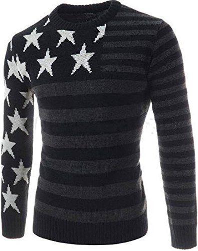 Men/'s Casual Round Neck Warm Strip Sweater Pullover Knitwear Jumper Coat Tops