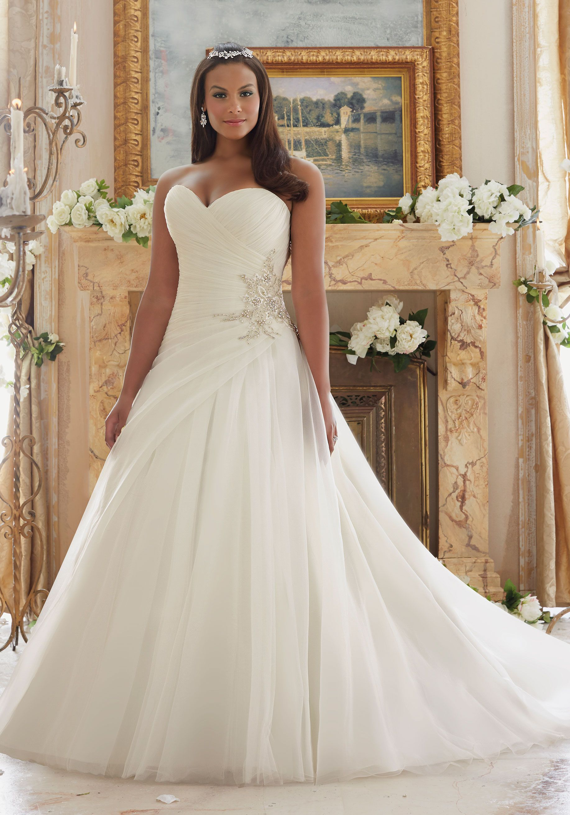 Diamante Beaded Appliques on Organza and Tulle Plus Size Wedding ...