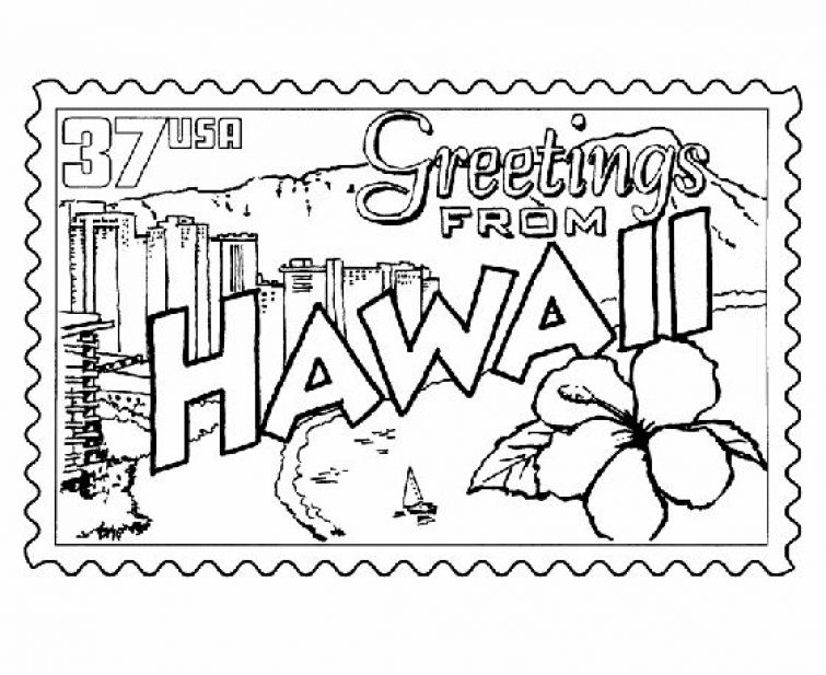 Hawaiian Stamp Printable Coloring Page Letscolorit Com Flag Coloring Pages Coloring Pages Flower Coloring Pages