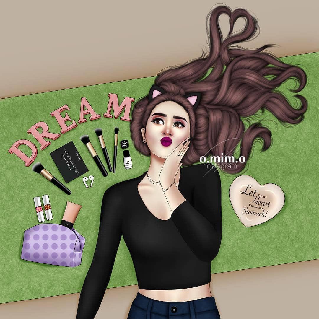 حلم كل بنت علبة كبيرة من ميكاب تحبون الميكاب لولا Fashionyista صور كارتونية للحلوات منشن ل Girly M Cute Girl Drawing Cartoon Girl Drawing
