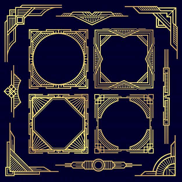 Classic Vintage Geometric Frames And Border Art Deco Illustration Art Art Deco Design