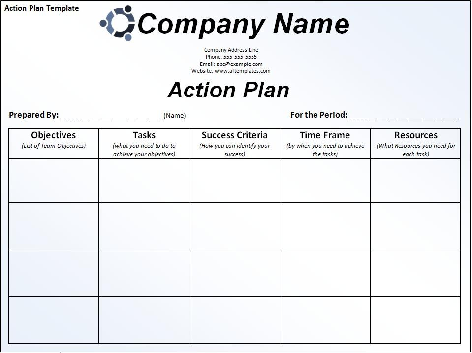 Simple Business Action Plan Template Sample with Company Logo and