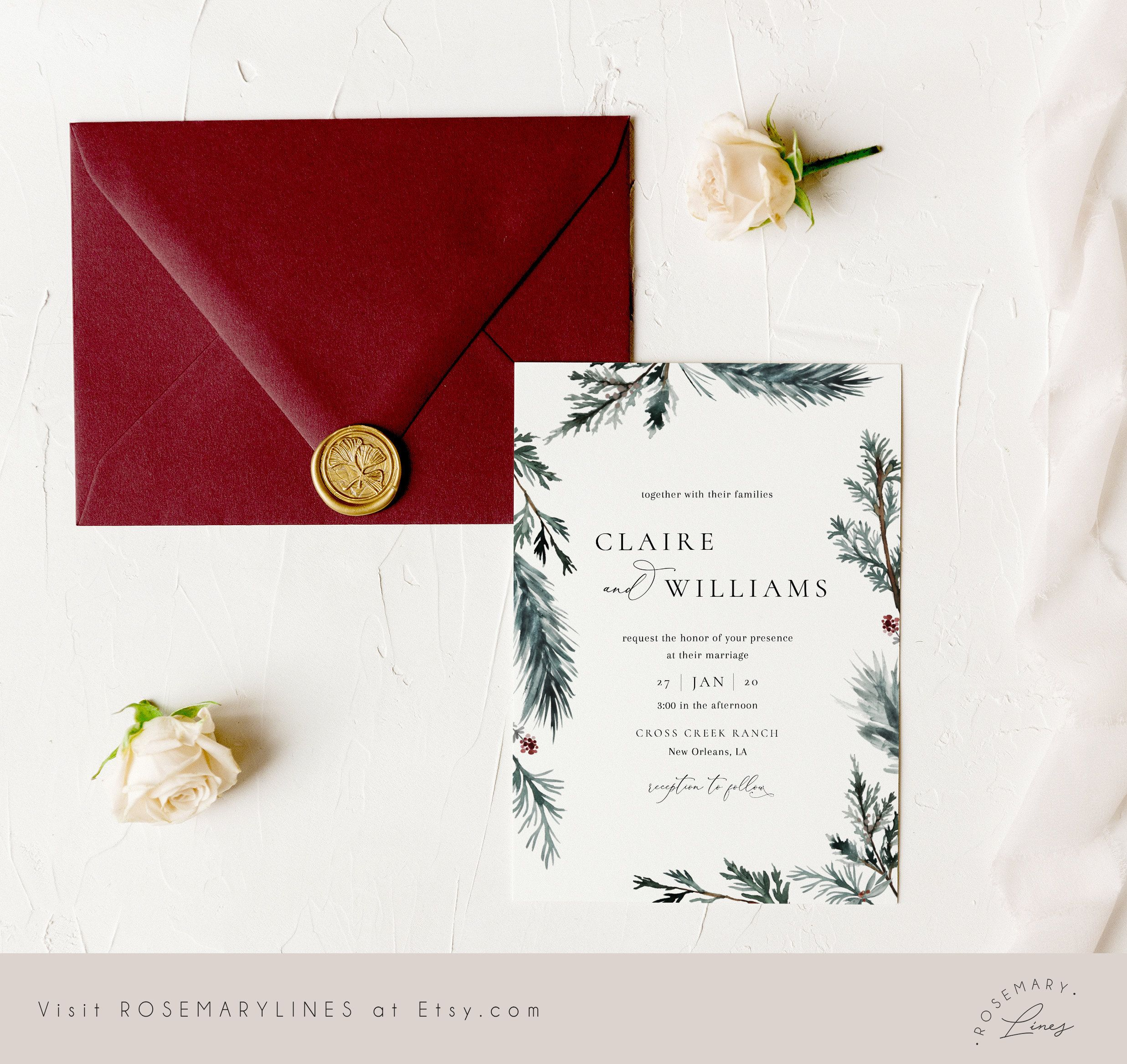 Invitations Vintage Italian Wedding Stationery Set; Invitation and Reply Card Printable US Only Evite or Printed