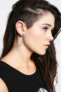 Love These Earrings Shaved Long Hair Undercut Long Hair Shaved Side Hairstyles