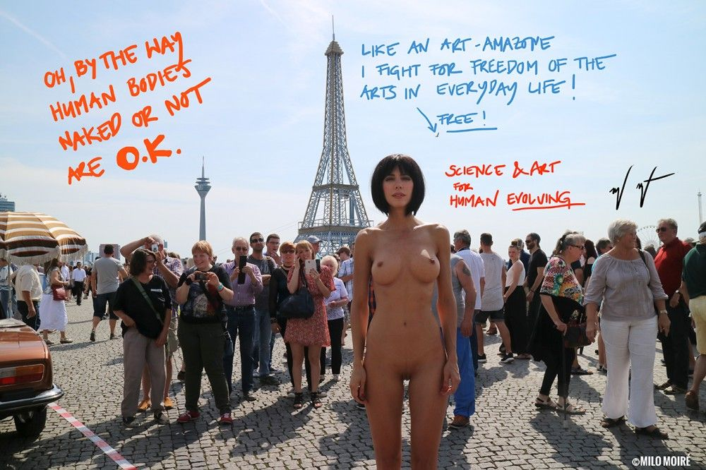 "Performance ""Naked Selfies""  Eiffel Tower Dusseldorf  Germany 