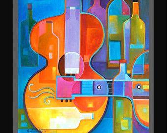 Moderne Kunstwerke abstrakte kunst kubismus ölgemälde gitarre musik wein flaschen
