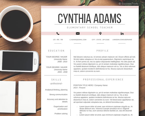 Teacher Resume TemplateModern Resume Template WordCv Template