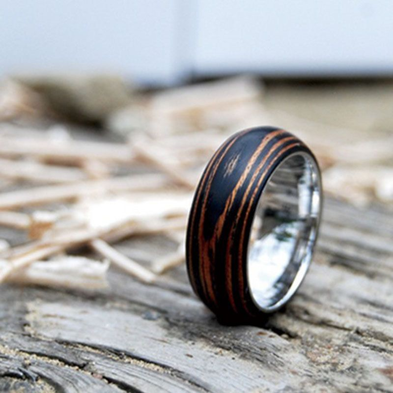 Mahogany Ring Stainless Steel Wedding Band Titanium Ring Wood Wedding Ring Mens Ring